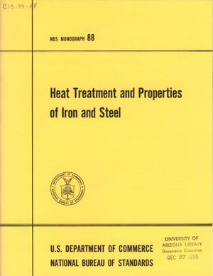 Primary view of object titled 'Heat Treatment and Properties of Iron and Steel'.