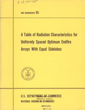 Primary view of object titled 'A Table of Radiation Characteristics for Uniformly Spaced Optimum Endfire Arrays with Equal Sidelobes'.