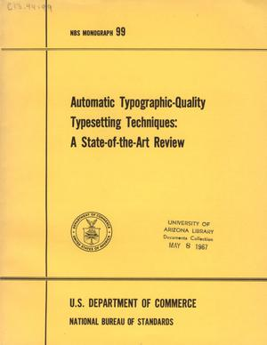 Primary view of object titled 'Automatic Typographic-Quality Typesetting Techniques: A State-of-the-Art Review'.