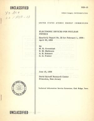 Primary view of object titled 'Electronic Devices for Nuclear Physics: February 1, 1956 - April 30, 1956'.