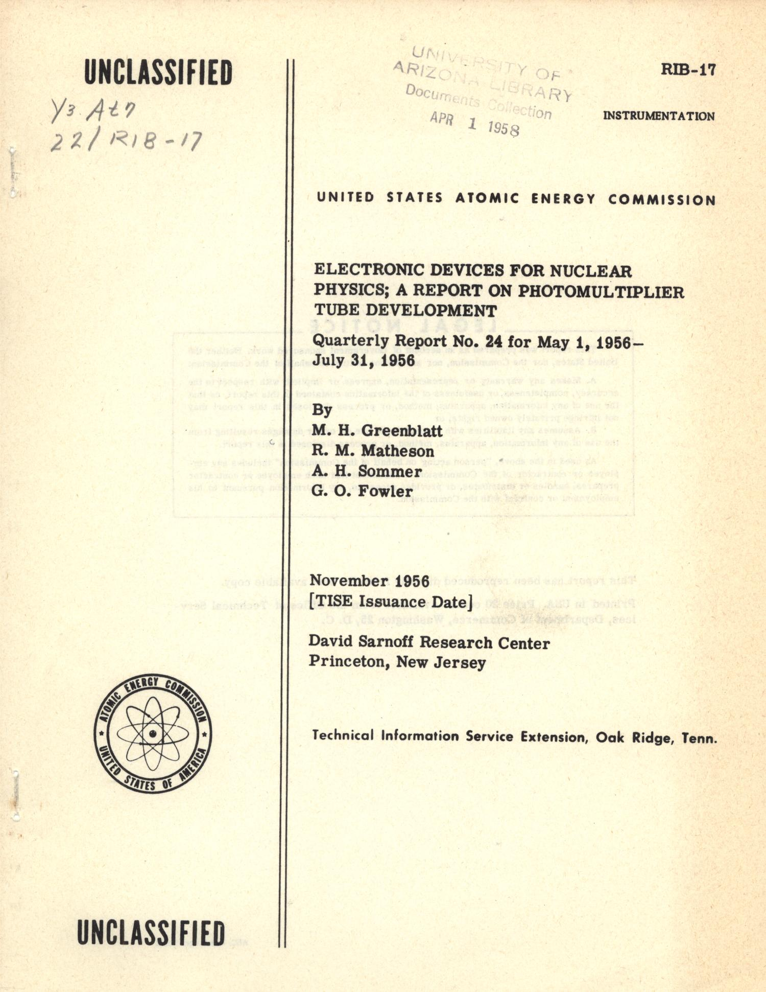 Electronic Devices for Nuclear Physics: May 1, 1956 - July 31, 1956                                                                                                      Front Cover