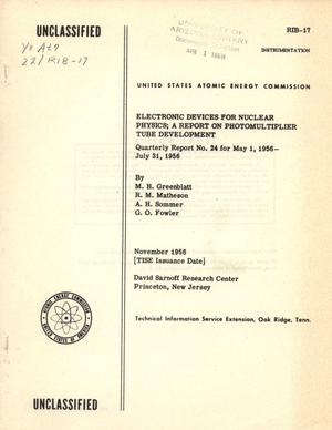 Primary view of object titled 'Electronic Devices for Nuclear Physics: May 1, 1956 - July 31, 1956'.