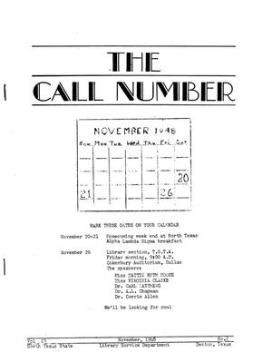 Primary view of object titled 'The Call Number, Volume 10, Number 2, November 1948'.