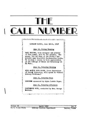 The Call Number, Volume 10, Number 7, April 1949