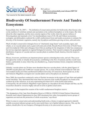 Primary view of object titled 'Biodiversity Of Southernmost Forests And Tundra Ecosystems'.
