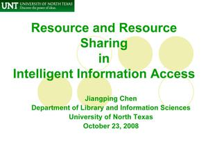 Primary view of object titled 'Resource and Resource Sharing in Intelligent Information Access'.