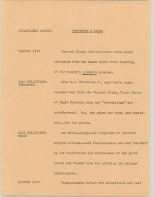 Primary view of [News Script: Tetterton & Marek]