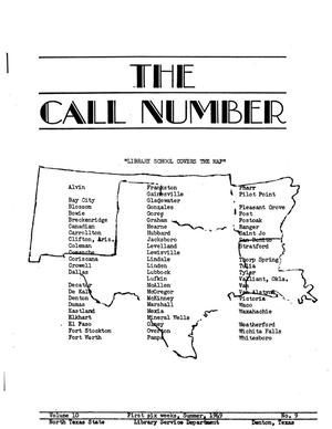 Primary view of object titled 'The Call Number, Volume 10, Number 9, First Six Weeks, Summer 1949'.