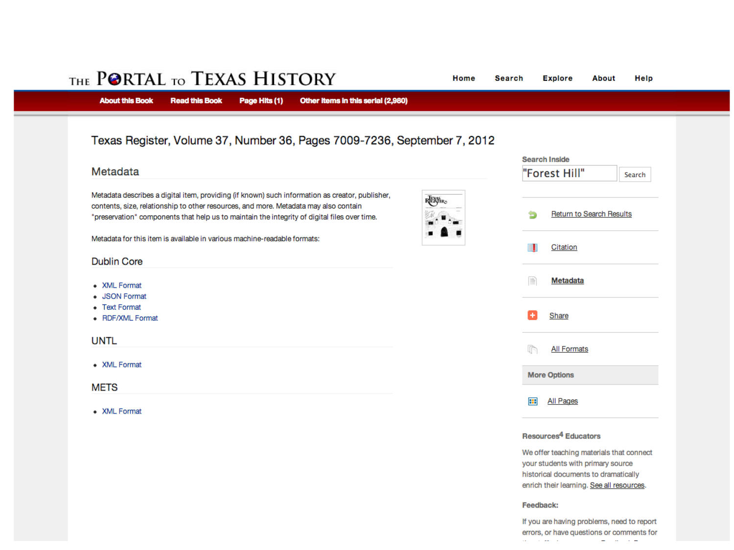 The Portal to Texas History: Technology Overview                                                                                                      [Sequence #]: 25 of 73