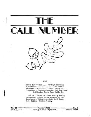 The Call Number, Volume 11, Number 1, October 1949