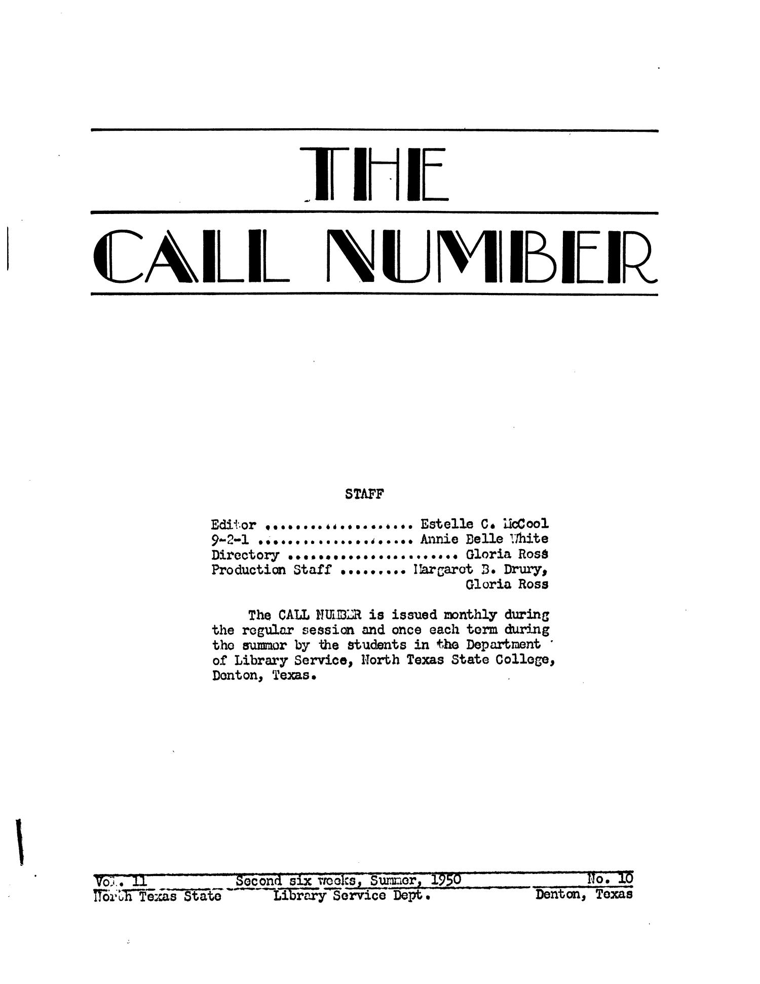The Call Number, Volume 11, Number 10, Second Six Weeks, Summer 1950                                                                                                      45