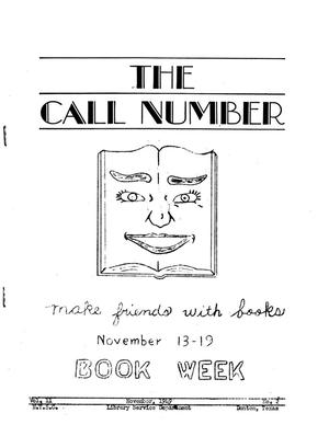Primary view of object titled 'The Call Number, Volume 11, Number 2, November 1949'.