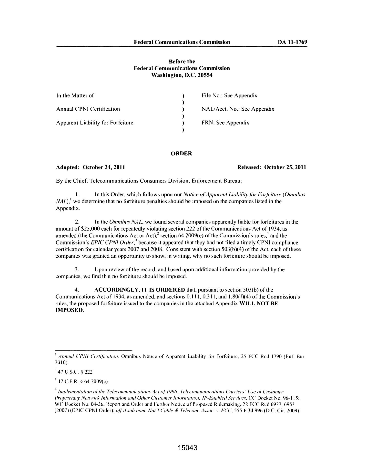 FCC Record, Volume 26, No. 19, Pages 14991 to 15893, October 24 - November 10, 2011                                                                                                      15043