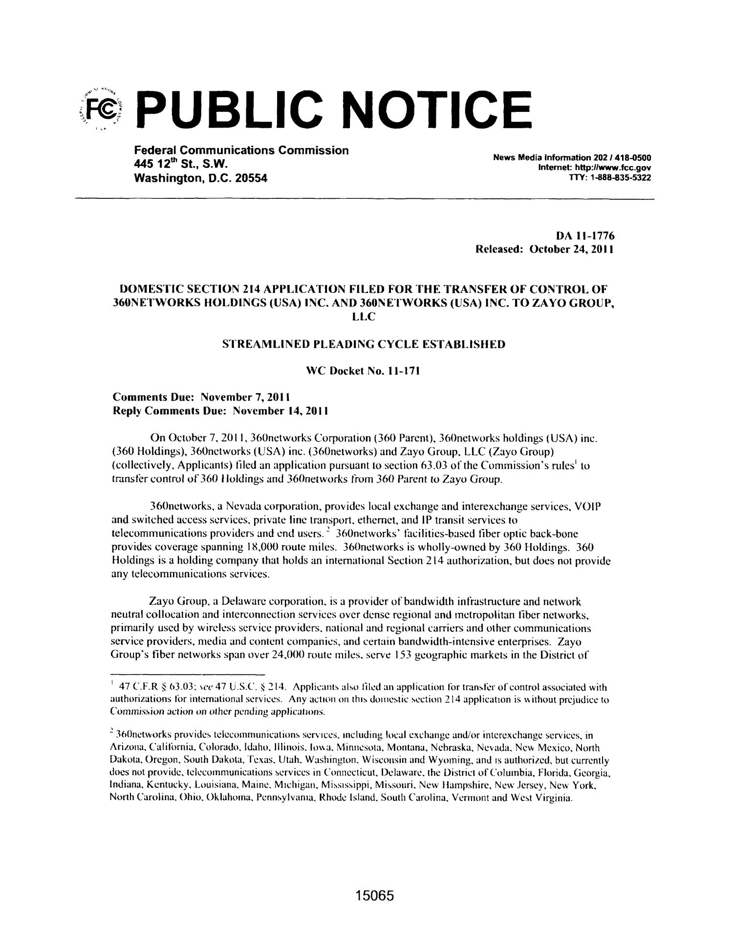 FCC Record, Volume 26, No. 19, Pages 14991 to 15893, October 24 - November 10, 2011                                                                                                      15065