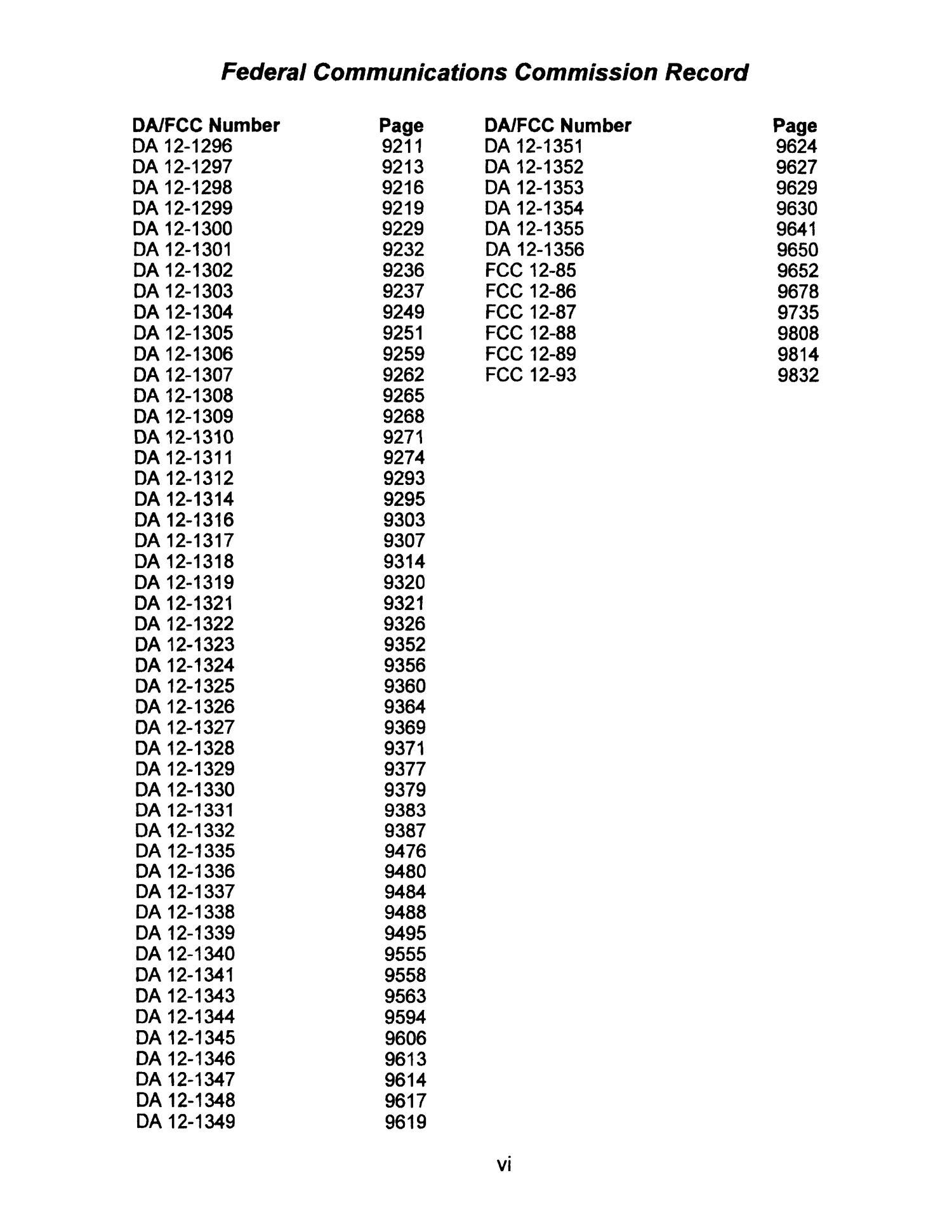 FCC Record, Volume 27, No. 11, Pages 8850 to 9847, July 30 - August 17, 2012                                                                                                      VI