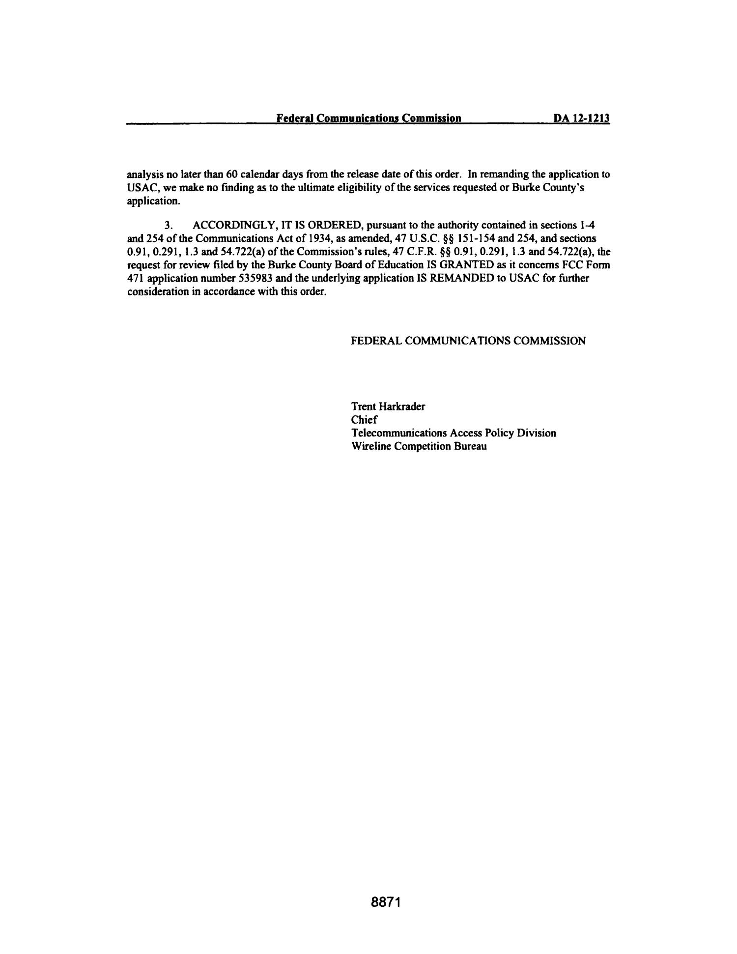 FCC Record, Volume 27, No. 11, Pages 8850 to 9847, July 30 - August 17, 2012                                                                                                      8871