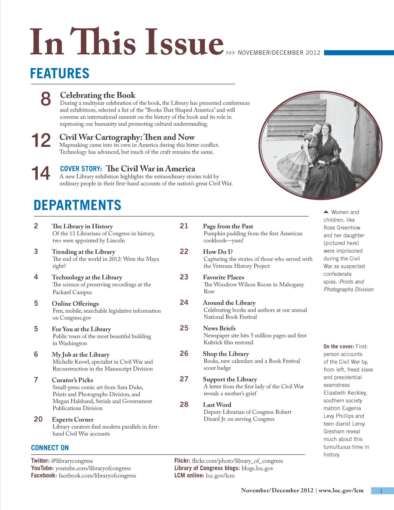 Library of Congress Magazine (LCM), Vol. 1 No. 2: November-December 2012                                                                                                      1