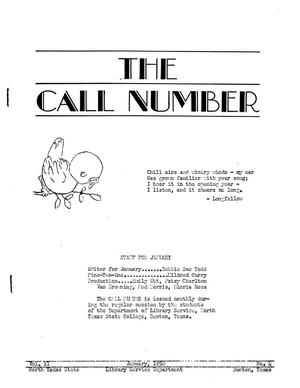 The Call Number, Volume 11, Number 4, January 1950