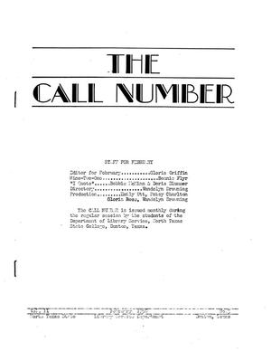 Primary view of object titled 'The Call Number, Volume 11, Number 5, February 1950'.