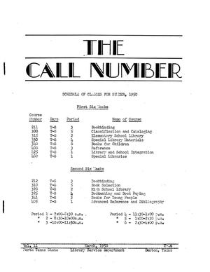 The Call Number, Volume 11, Number 6, March 1950