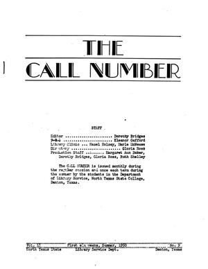 The Call Number, Volume 11, Number 9, First Six Weeks, Summer 1950