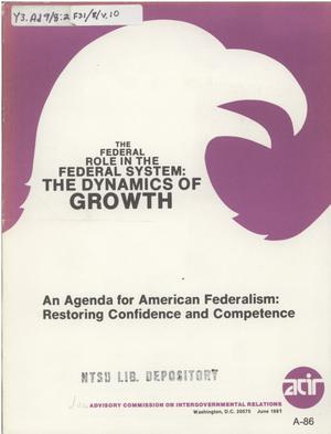 An agenda for american federalism: restoring confidence and competence