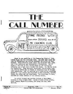 Primary view of object titled 'The Call Number, Volume 12, Number 2, November 1950'.