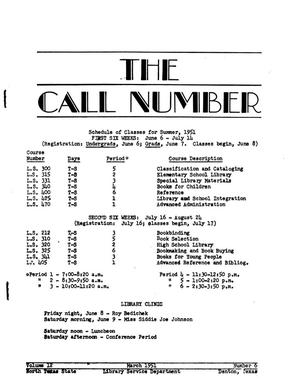 Primary view of object titled 'The Call Number, Volume 12, Number 6, March 1951'.