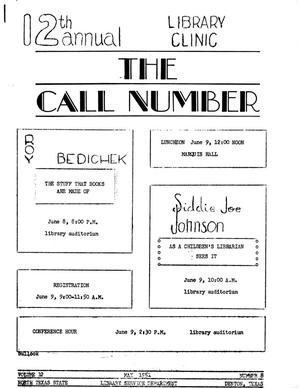 Primary view of object titled 'The Call Number, Volume 12, Number 8, May 1951'.