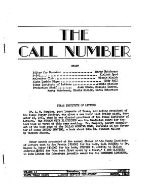 Primary view of object titled 'The Call Number, Volume 13, Number 2, November 1951'.