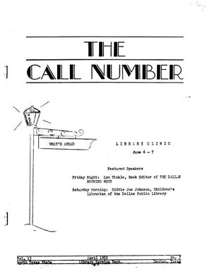 Primary view of object titled 'The Call Number, Volume 13, Number 7, April 1952'.