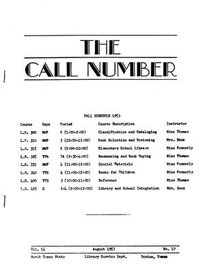 Primary view of object titled 'The Call Number, Volume 14, Number 10, August 1953'.
