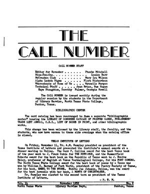 Primary view of object titled 'The Call Number, Volume 14, Number 2, November 1952'.