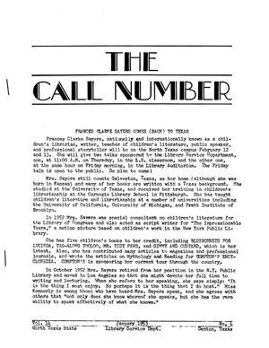Primary view of object titled 'The Call Number, Volume 14, Number 4, January 1953'.