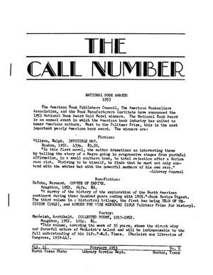 The Call Number, Volume 14, Number 5, February 1953