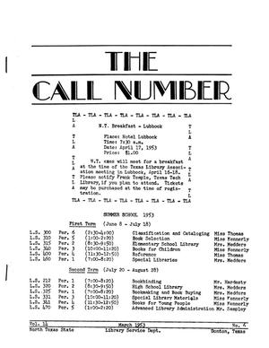 Primary view of object titled 'The Call Number, Volume 14, Number 6, March 1953'.