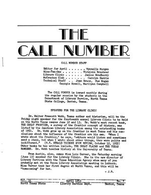 Primary view of object titled 'The Call Number, Volume 14, Number 7, April 1953'.