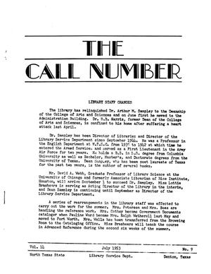 Primary view of object titled 'The Call Number, Volume 14, Number 9, July 1953'.