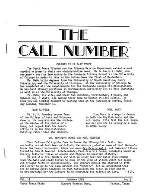 The Call Number, Volume 15, Number 1, October 1953