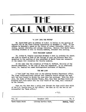 The Call Number, Volume 15, Number 2, November 1953