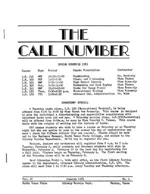 Primary view of object titled 'The Call Number, Volume 15, Number 4, January 1954'.