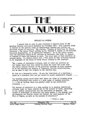Primary view of object titled 'The Call Number, Volume 15, Number 5, February 1954'.