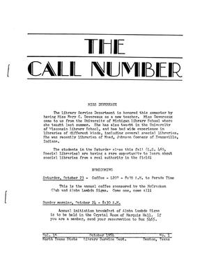 Primary view of object titled 'The Call Number, Volume 16, Number 1, October 1954'.
