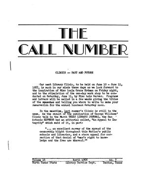 Primary view of object titled 'The Call Number, Volume 16, Number 7, April 1955'.