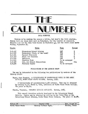 Primary view of object titled 'The Call Number, Volume 16, Numbers 9 and 10, Summer 1955'.