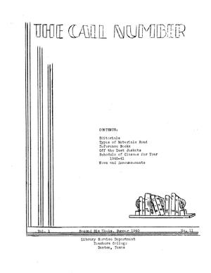 The Call Number, Volume 1, Number 11, Second Six Weeks, Summer 1940