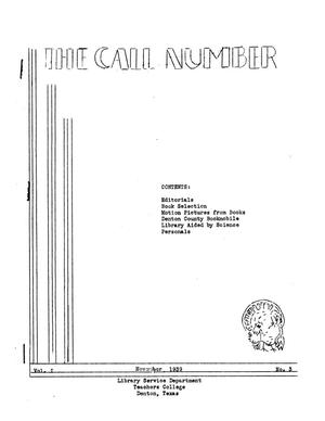 The Call Number, Volume 1, Number 3, November 1939