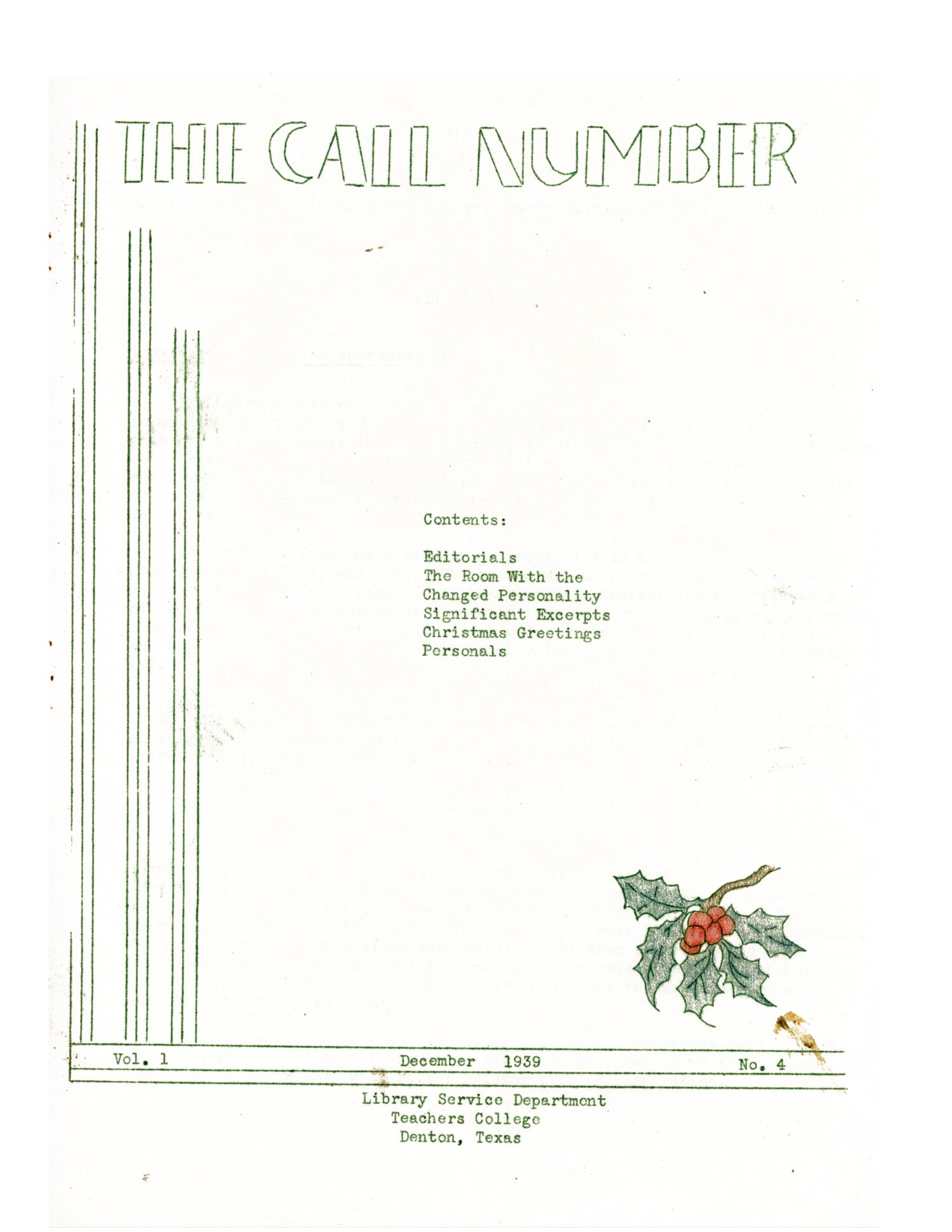 The Call Number, Volume 1, Number 4, December 1939                                                                                                      1