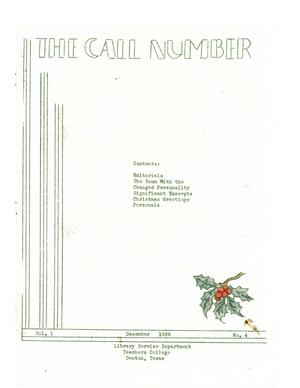 The Call Number, Volume 1, Number 4, December 1939
