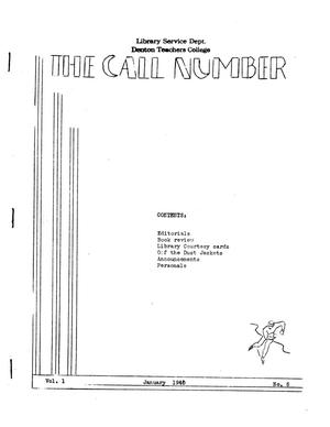 Primary view of object titled 'The Call Number, Volume 1, Number 5, January 1940'.
